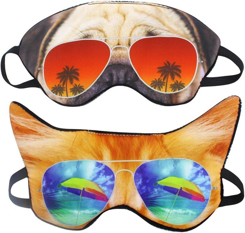 (Pack of 2) 3D Cat Dog Animal Sleep Eye Mask Night Shades for Sleeping Travel Home Office Funny Blindfold for Girls Kids Men Women