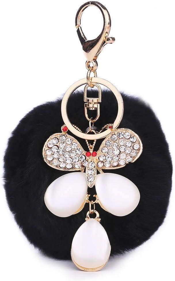 LAIGESHADIAO Llavero 8Cm Pelo Bola Llavero Colgante Diamante Joya Mariposa Bolso Colgante Coche Colgante