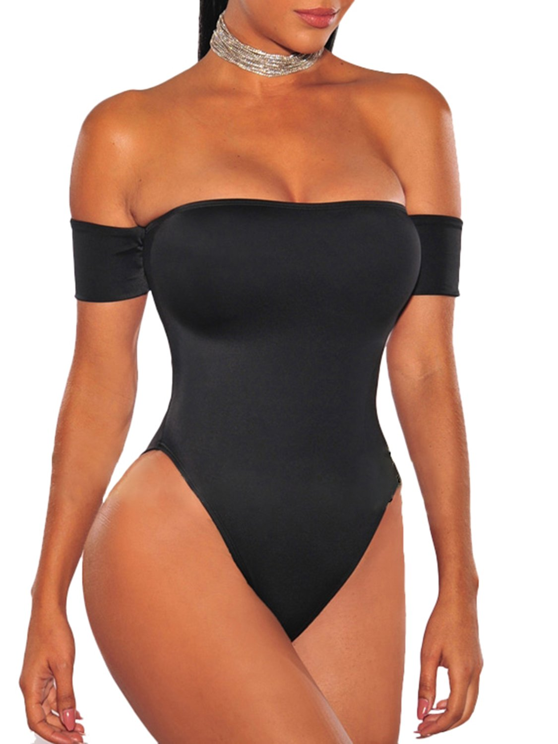 Glamaker Women's Sexy Off Shoulder Stretchy Bosysuit With Short Sleeves 61nkcEjFpyL