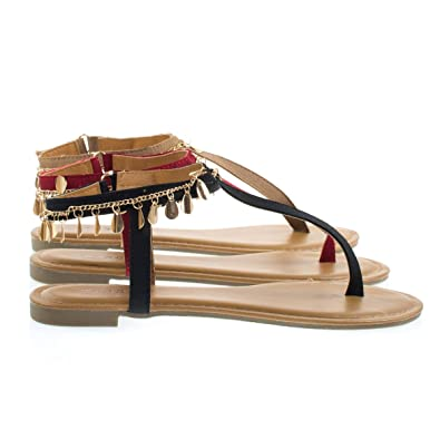 ecd527c60 Inspire36m BlkTap Gold Metal Chain Open Toe Flat Thong Sandal w Adjustable  Ankle Strap -10