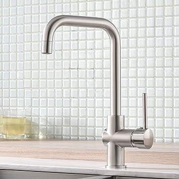 Gebürstet Nickel Küchenarmatur Mit Ausziehbar Küche Wasserhahn Mischbatterien