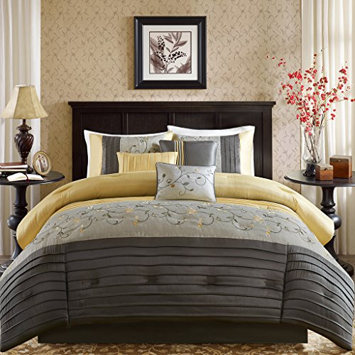 Madison Park Serene Queen Size Bed Comforter Set Bed in A Bag - Yellow, Embroidered - 7 Pieces Bedding Sets - Faux Silk Bedroom Comforters