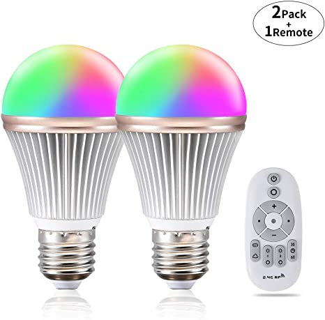 Dimmable Smart Led Light Bulb Color Changing Phwii Rgb Multicolor Light Bulb Adjustable Light Bulb Dimmable Lamp 2 4g Wireless Remote Control Led Bulbs 2 Pack 9w E26 Amazon Com