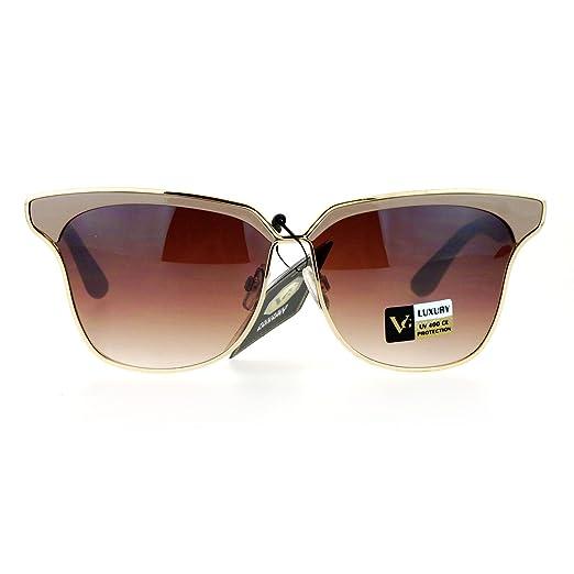 6f7424cdd25 SA106 Womens Luxury Designer Fashion Half Horn Rim Metal Trim Sunglasses  Beige