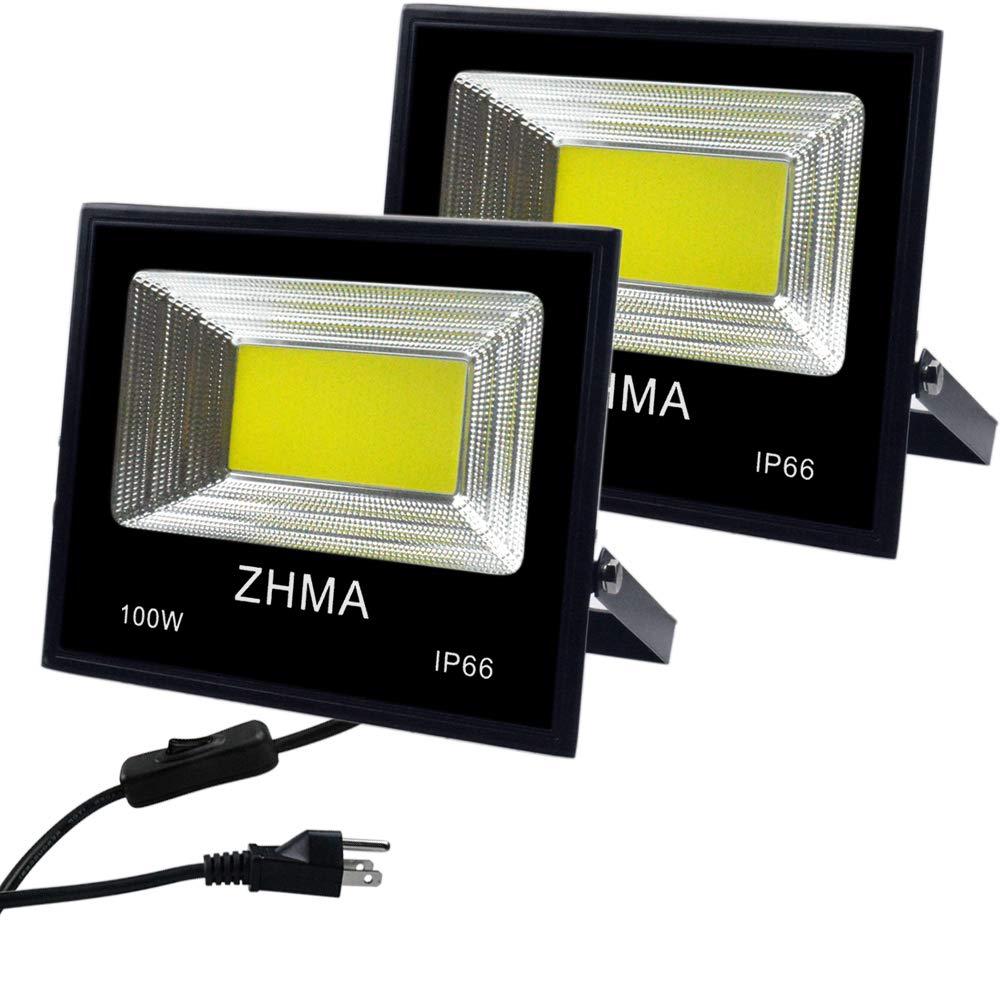 100w Craft Led Flood Lights Super Bright Work Lights: ZHMA 2 Pack 100W LED Flood Light Outdoor With Plug, 9000lm