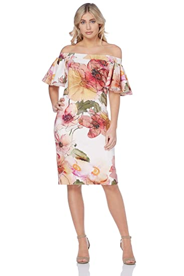 0946cab29171 Roman Originals Women Floral Print Bardot Cold Shoulder Bodycon Fashion  Dress - Ladies Evening Wedding Guests Mother of The Bride Garden Party  Ascot Dresses ...