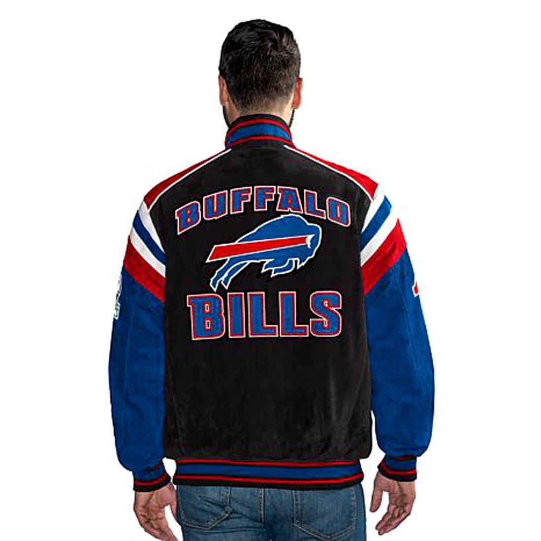 23b0b31ab4e Amazon.com  G III Buffalo Bills Leather Suede Varsity Jacket NFL Asst  Sizes  Clothing