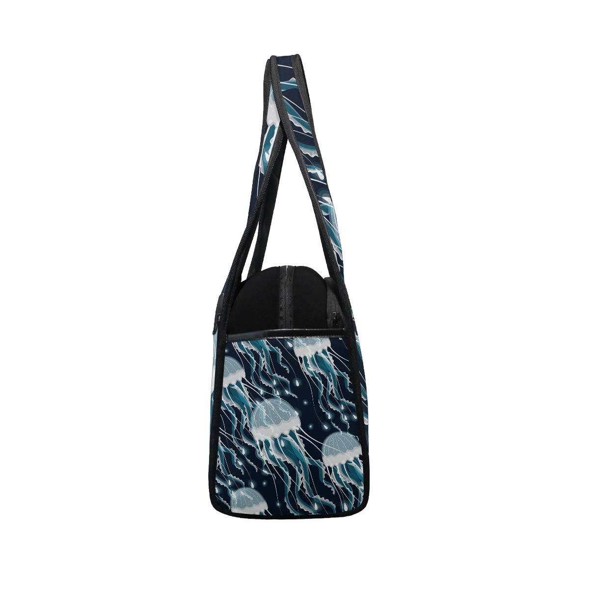 Gym Bag Sports Holdall Ocean Jellyfish Canvas Shoulder Bag Overnight Travel Bag for Men and Women