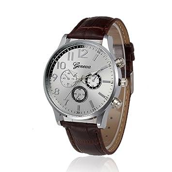 NUEVO reloj con correa de cuero, reloj de pulsera de cuarzo, relojes para hombre