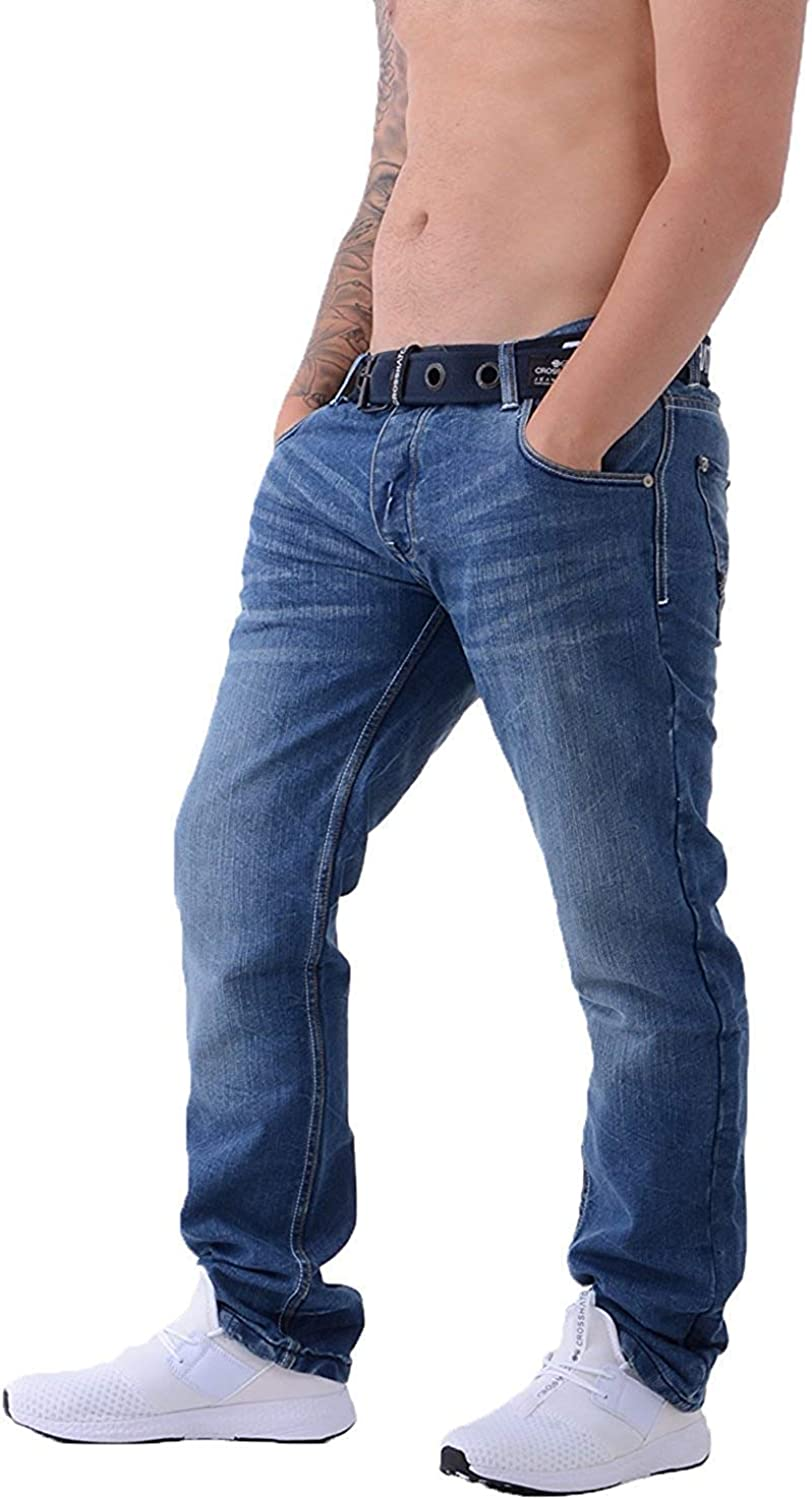 Crosshatch Mens New Embossed Techno Stone Wash Jeans