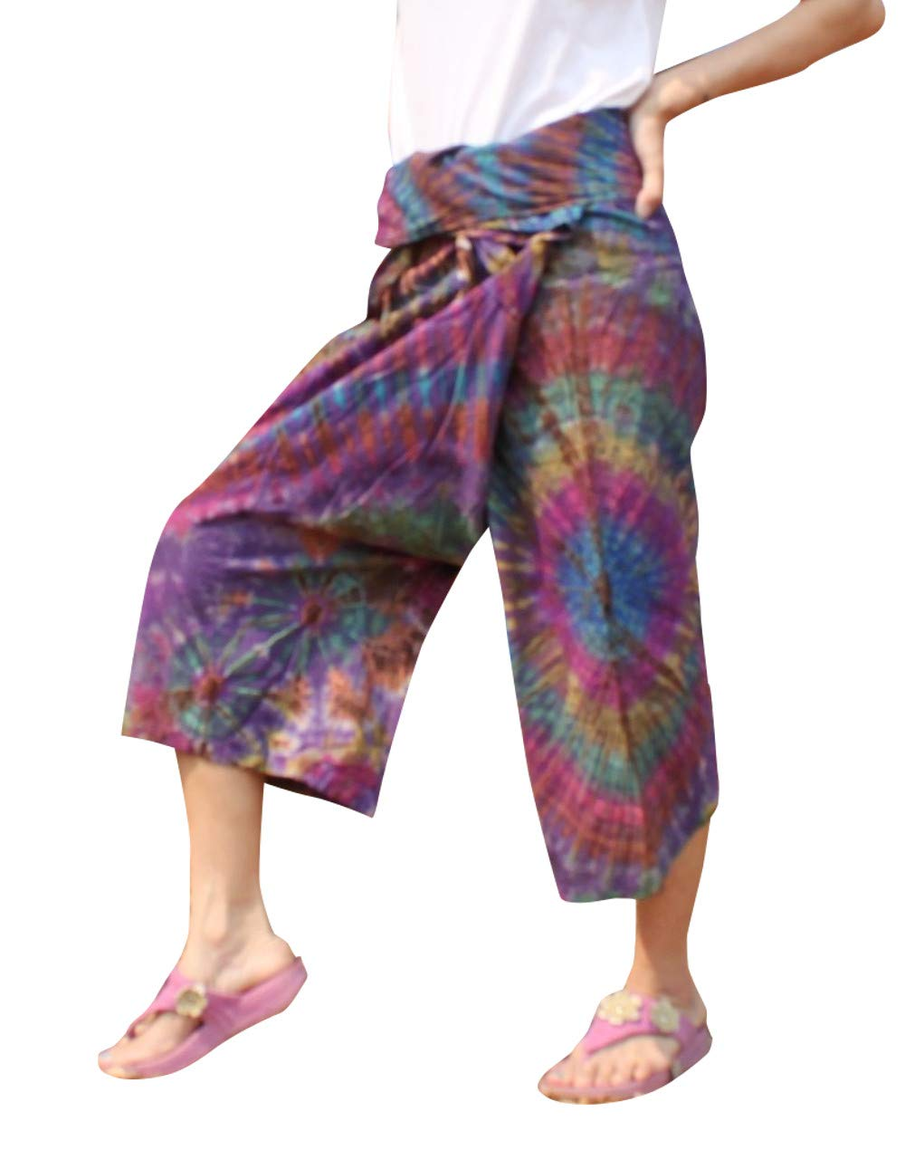 Full Funk Cotton Tie Dyed Natural Colorful Thai Fisherman Wrap 3/4 Leg Pants, Medium, Maximum Red Purple by Full Funk