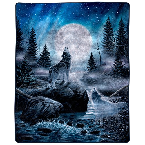 Lavish Home 66-B Heavy Fleece Howling Wolf Pattern-Plush Thick 8 Pound Faux Mink Soft Blanket for Couch Sofa Bed (74