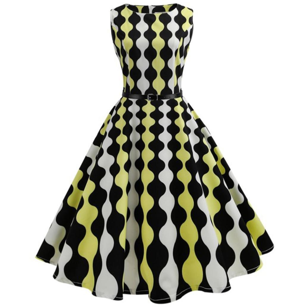 Women Dress Daoroka Sexy Ladies Vintage Plaid Sleeveless Bodycon Pleated A Line Swing Evening Party Prom Skirt With Belt Retro Casual High Waist Hepburn New Fashion Cute Sundress (L, Yellow)