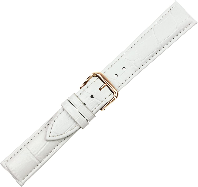 Boucle à ardillon en or rose / bracelet pour montre en cuir / peau de crocodile RECHERE blanc