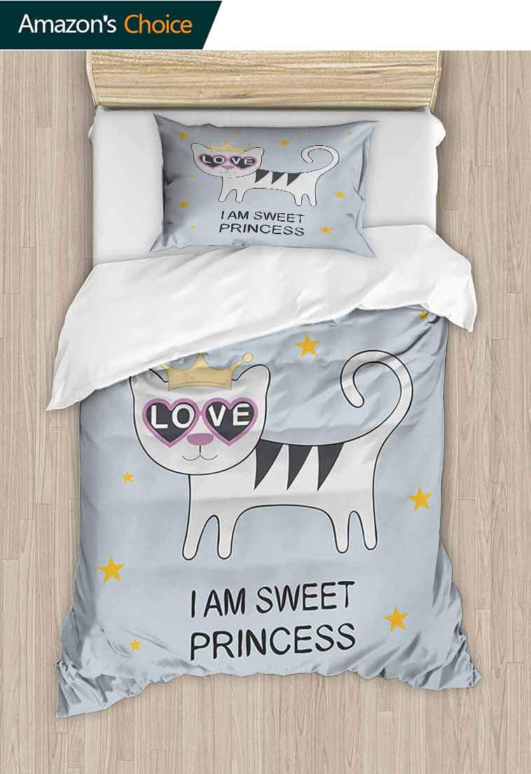 I am a Princess DIY Quilt Cover and Pillowcase Set, Sweet Princess Cat with Heart Shaped Glasses Love Royal Animal Character, Reversible Coverlet, Bedspread, Gifts for Girls Women, 79 W x 90 L Inches