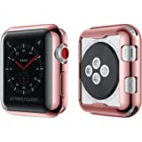 Smiling Apple Watch 3 Case Buit in TPU Screen Protector All-Around Protective Case High Defination Clear Ultra-Thin Cover Apple Watch 38mm Series 3 Series 2 (Rose-Pink, 38mm)