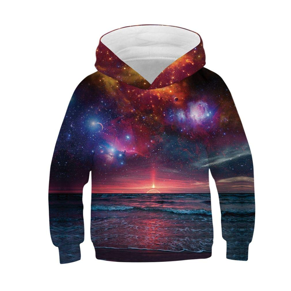 SAYM Boys Cartoon Pockets Galaxy Pullover Hoodies Sweatshirts 4-13Y