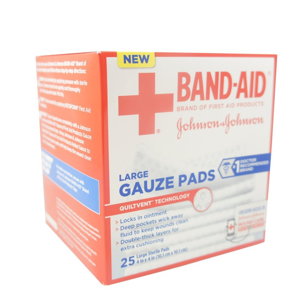 American Red Cross Johnson & Johnson Band-Aid First Aid Gauze Pads, 25 Count