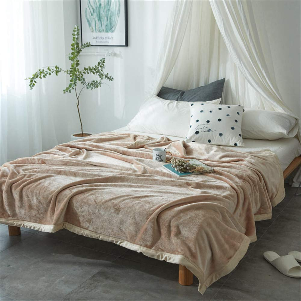 Zlloo Decke Einfarbige Samt Decken Bettwäsche verdickt Single Klimaanlage ist doppelte Sommer dünne Abschnitt Korallen Samt Decke Handtuch Steppdecke, 230  270 cm