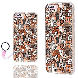 iPhone 8 Plus Case Cute,iPhone 7 Plus Case for Girls, ChiChiC [Orignal Series] Anti-Scratch Slim Flexible Soft TPU Rubber Cases Cover for iPhone 7 8 Plus 5.5 Inch,cute animal brown dogs cats smile pet