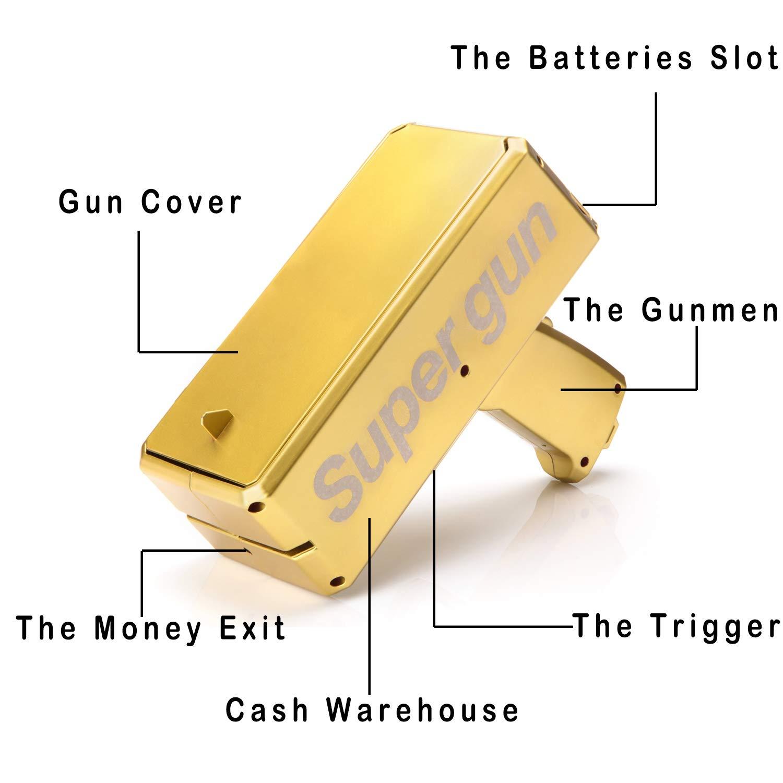 Alagoo Super Money Guns Paper Playing Spary Money Gun Make it Rain Toy Gun, Handheld Cash Gun Fake Bill Dispenser Money Shooter with 100 Pcs Play Money(Metallic Gold) by Alagoo (Image #4)