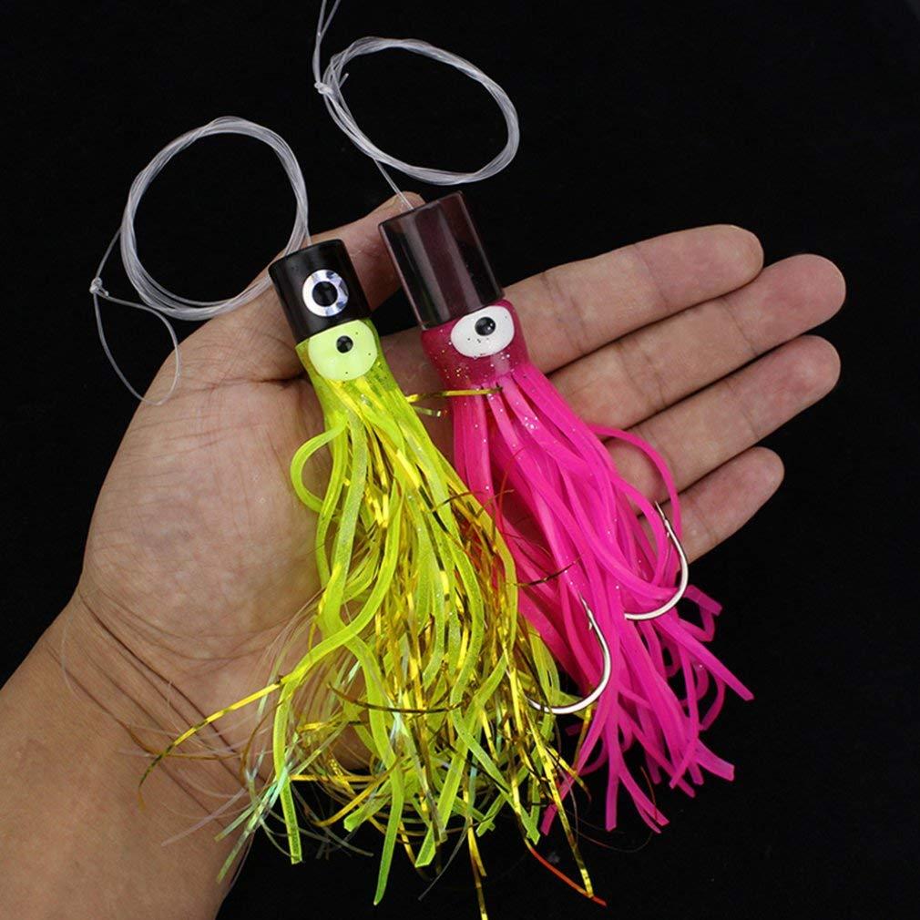 KinshopS Richiamo di Pesca Artificiale Duro con calamaro Esca di Polipo con ami e richiamo di Pesca