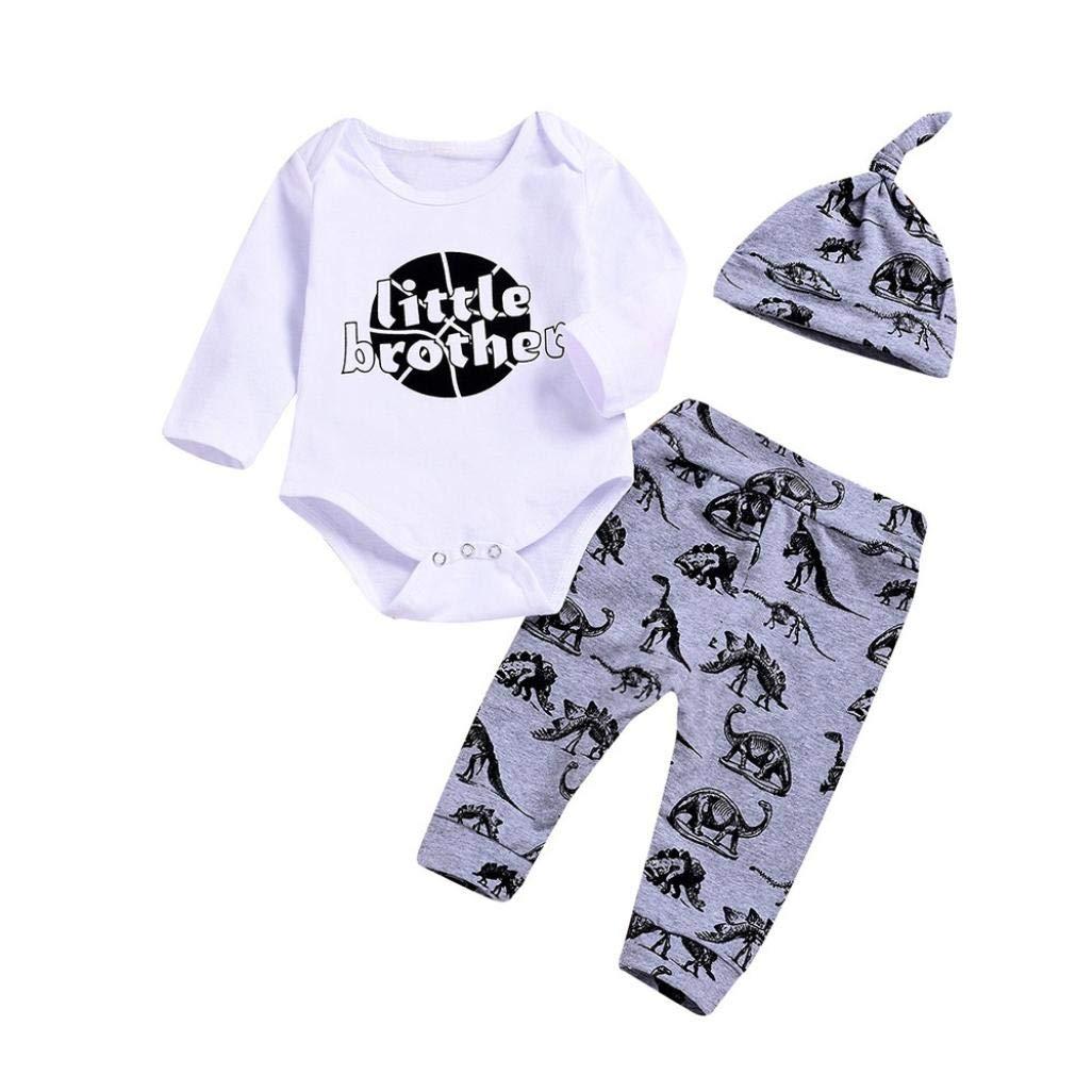 Culater 2018 ❤️❤ Bambina Infantile Ragazza Letter Stampa Pagliaccetto ❤️❤ + Dinosaur Stampa Pantaloni + Cappello 3 Pezzi Abbigliamento Vestito Set per Neonati Ragazza MK-1203