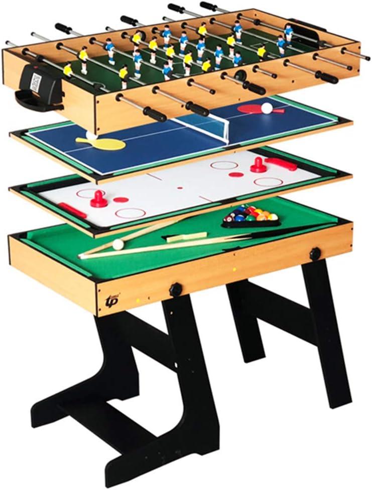 Lcyy-game Deluxe 4 en 1 Mesa de Juego Superior de múltiples Funciones de Tenis de Mesa Combo Constante (Ping Pong), Glide Hockey, futbolín de fútbol, Conjunto de Billar para niños y niños