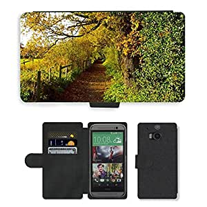 Hot Style Cell Phone Card Slot PU Leather Wallet Case // M00152261 Autumn Season Leaves Color // HTC One M8