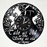 BEUTY AND the beast VINYL WALL CLOCK snoopy stuffed animals Handmade Vinyl Record Wall Clock - Get unique home room wall decor - Gift ideas for parents, teens gift for girls– PRIME CUTE Movie t