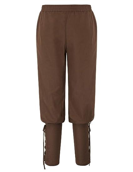 SCARLET DARKNESS Hombre Pantalones Medievales de Algodón Casual ...