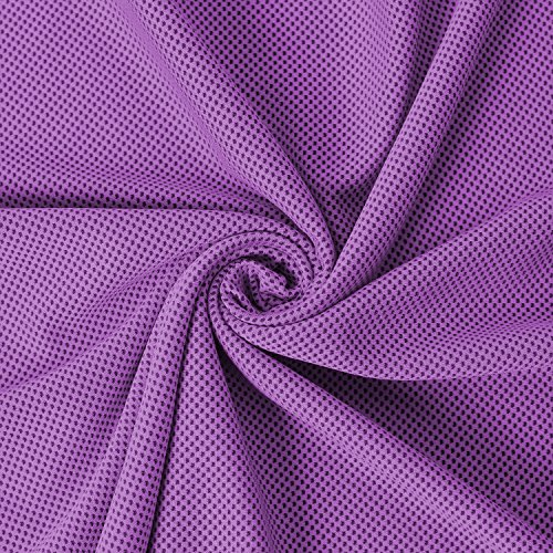 """Cooling Towel - 40"""" Long Fitness Yoga Towel, Lightweight Soft Breathable Snap to Reactivate Chill Towel, Ice Cool Towel Gift for Women Kids Workout Lovers in Hot Summer Season Purple 16 x 40 Inch"""