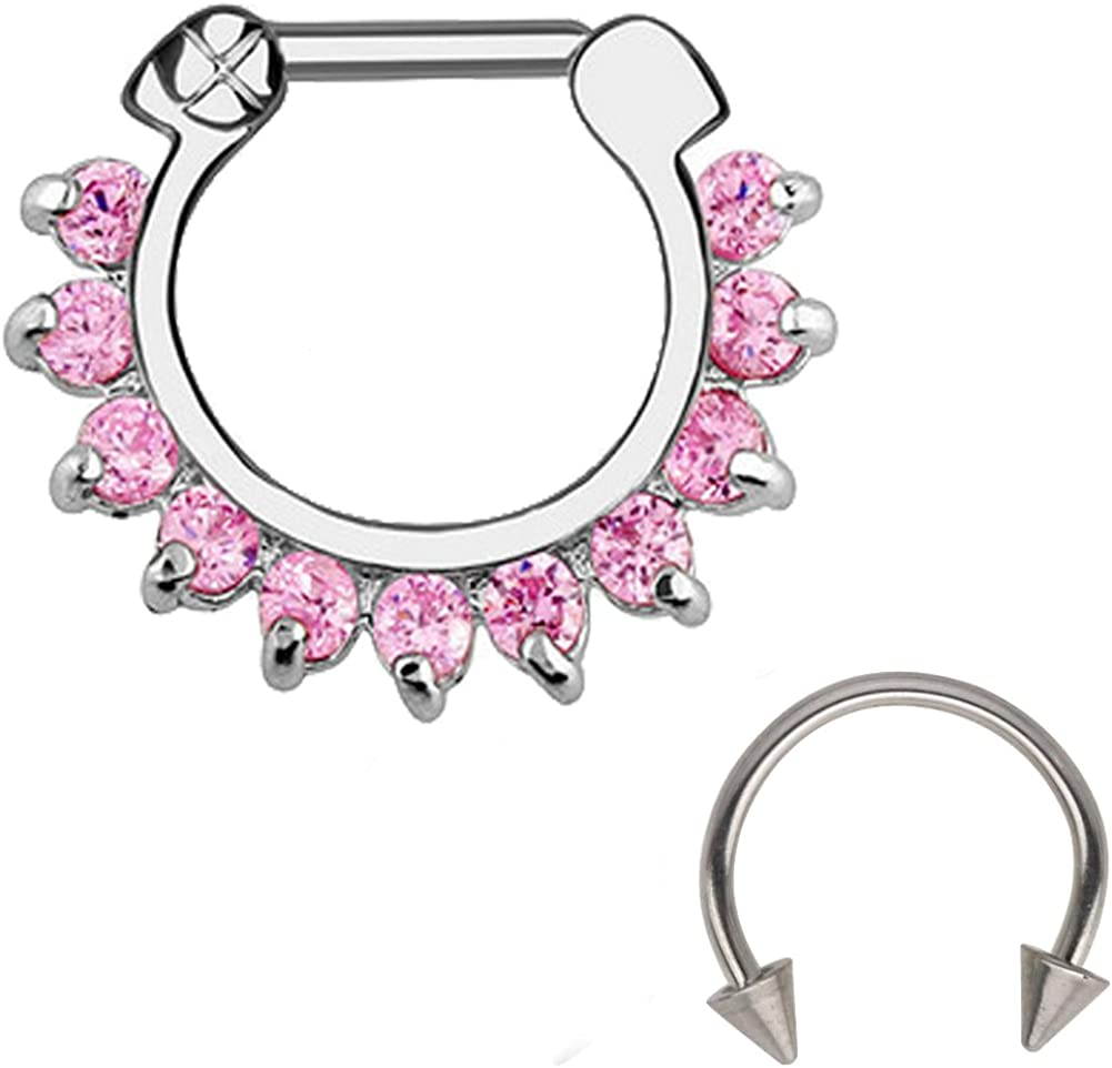2PCS 16G Circular Barbell and Nose Daith Septum Clicker Ring with Clear Gems 316L Surgical Steel
