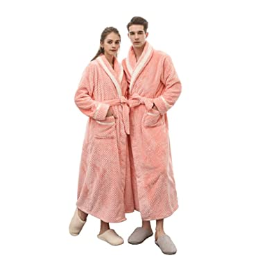cda89165dca8 SUNBABY Mink Cashmere Bathrobes Thicker Long Flannel Sleepwear Women Man Couple  Pajamas (Orange Pink