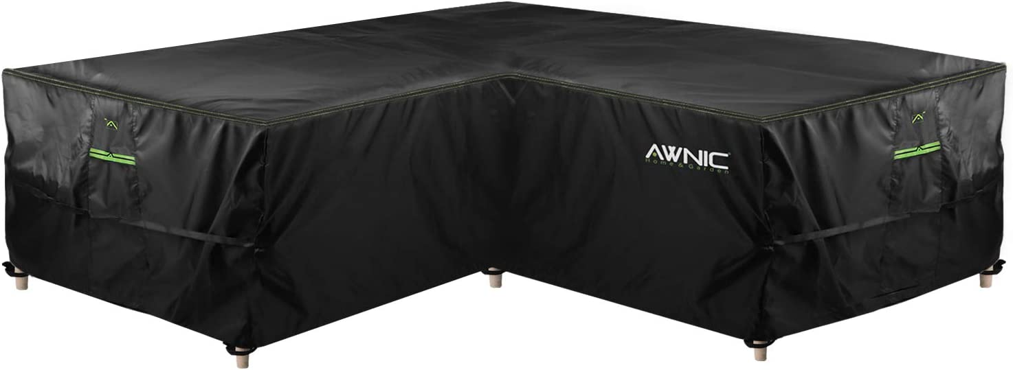 AWNIC Garden L Shape Sofa Cover Rattan Corner Furniture Cover Waterproof Outdoor V Shape Couch Cover Patio Furniture Set Covers TÜV Rheinland Certificated Wind and UV Resistant 85 x 85 x 33 x 28 in