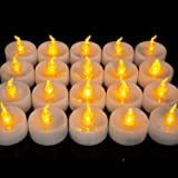 Homemory LED Tea Lights, Set of 24 Flameless Flickering Tealight Candle, Electric Fake Candle for Votive, Wedding, Party…