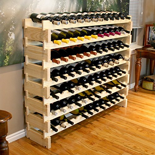 Creekside 84 Bottle Long Scalloped Wine Rack (Pine) by Creekside - Easily stack multiple units - hardware and assembly free. Hand-sanded to perfection!, Pine