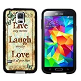 Galaxy S5 Case, Laser Technology for Protective Samsung Galaxy S5 Case Black DOO UC (TM) - Retro butterfly pattern'Live Laugh Love'