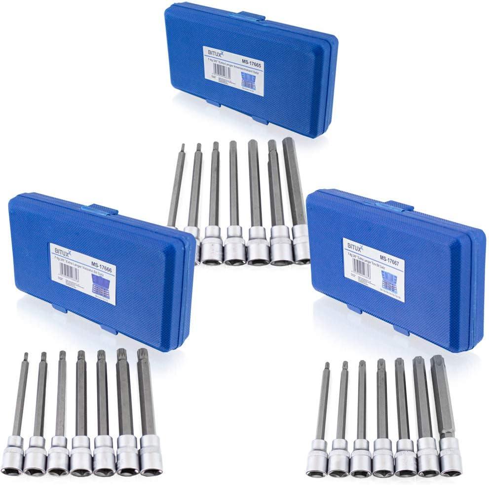 extra lunghe H3-H10 BITUXX Set di 21 punte Torx esagonali esagonali XZN M4-M10 T25-T60 3//8