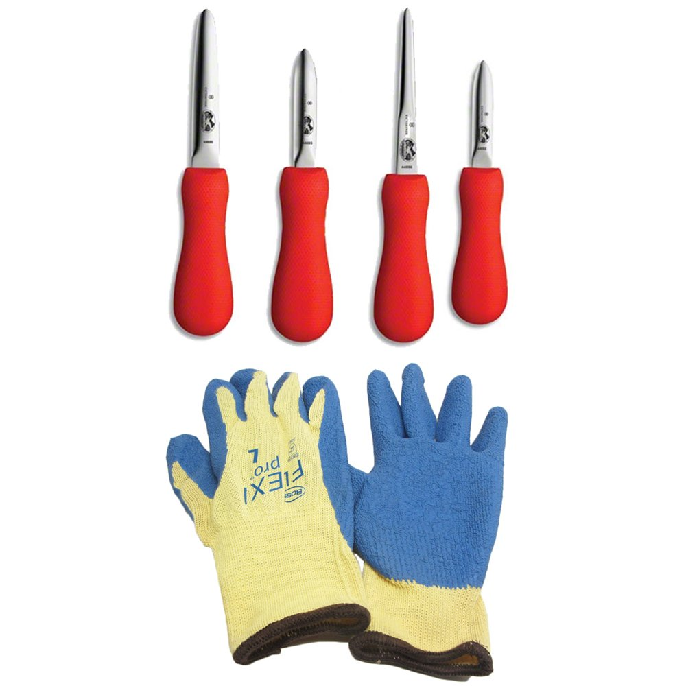 Variety of Oyster Shucking Clam Seafood Shellfish Knife Tools with Heavy-duty Grip Gloves (4 Red Handled Variety Pack w/ Gloves)