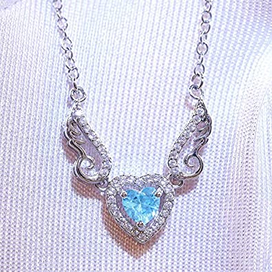 SooGood Heart with Angel Wings Necklaces Jewelry Gifts Embellished with Crystals for Women