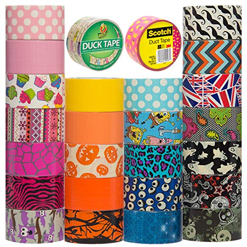 Duck and Scotch Brand Duct Tape Set (25 Random Rolls) Colored Duct Tape Multi Pack, Duct Tape Bulk Lot For Duct Tape Designs, DIY Crafts