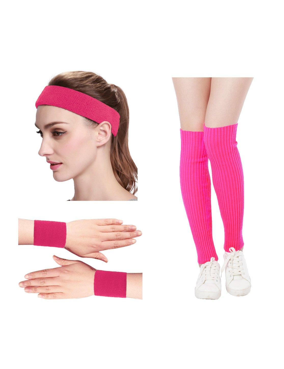 KIMBERLY S KNIT Women 80s Neon Pink Running Headband Wristbands Leg Warmers Set (Free, HotPink)