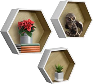 Sorbus Floating Shelf Hexagon Set — Honeycomb Wall Mounted Shelves, Decorative Hanging Display for Collectibles, Photos Frames, Plants, and More (Set of 3 – White)