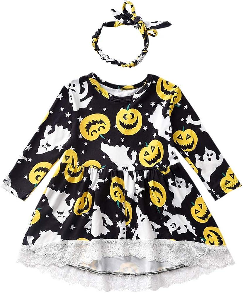 Toddler Girl Halloween Outfit Jack-O'-Lantern Print T-Shirt Dress with Headband