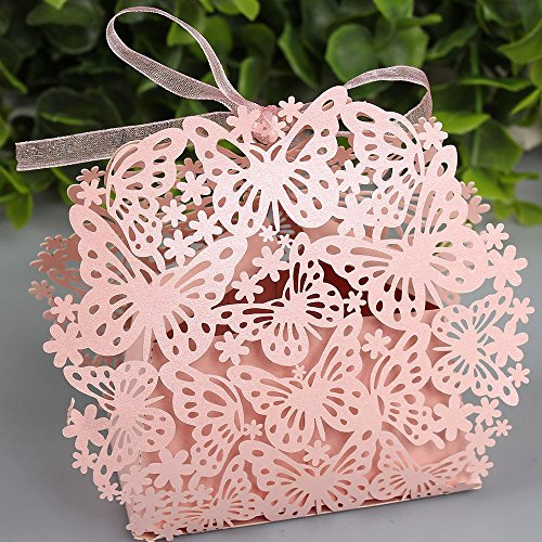 Sorive® 50 Pack Laser Cut Butterfly Wedding Favor Box Birthday Shower Party Candy Boxes Bomboniere with Ribbons Bridal Shower Wedding Party Favors SORIVE0032 ( Pink )