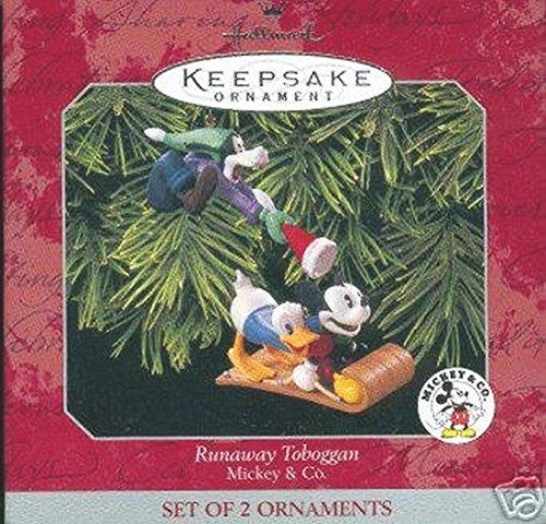Hallmark Keepsake Runaway Toboggan Mickey & Co. Set of 2 Christmas Ornament (Donald Duck Ornament)