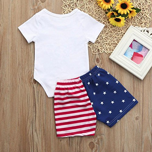 Fanteecy Newborn Infant Baby Boys Clothes Set Letter Romper+American Flag Stars Stripes Shorts Bodysuits Onesies