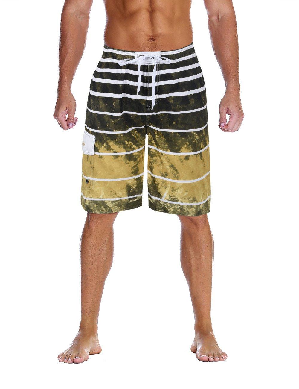 Nonwe Men's Beachwear Quick Dry Holiday Drawstring Striped Swim Trunks Ginger 38