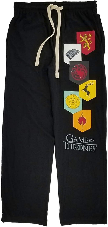 Game of Thrones Mens Black Knit Lounge Pants Sleep Pants Pajama Bottoms